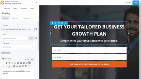 drag and drop landing page builder tool online software